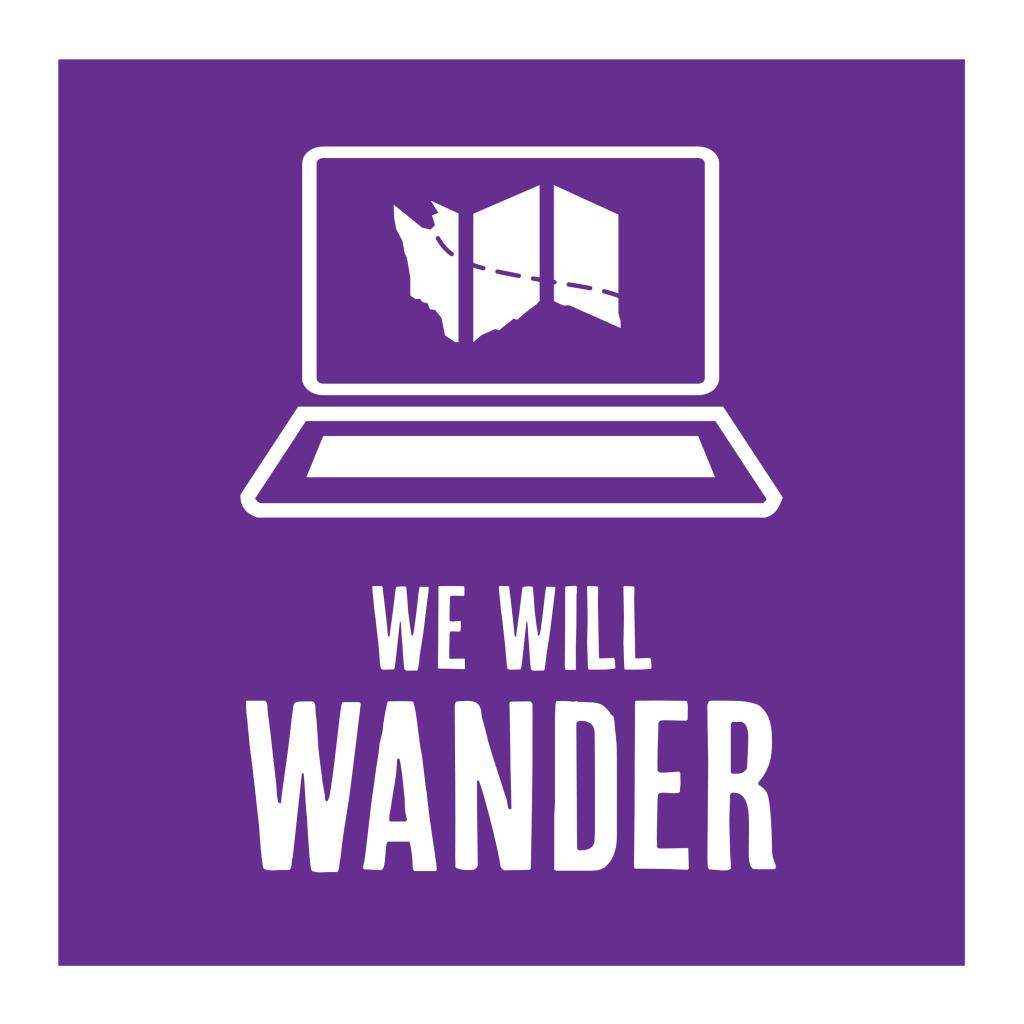 we will wander logo with computer screen and map shaped like washington state