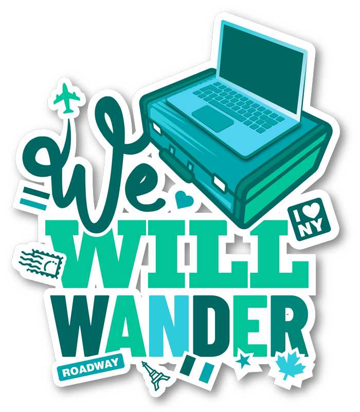 we will wander logo - suitcase with laptop on top and stickers from travel destinations